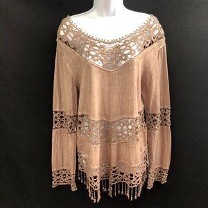 Kaktus Mocha Embroidered Lace Tunic Top Size M